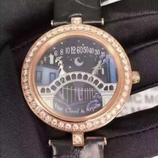 038梵克雅宝.诗意复杂系列.真金真钻B346869470005 皮带 石英女表真金真钻手表