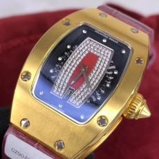 153理查德米勒.24K包金B346771954005 皮带 机械女表真金真钻手表