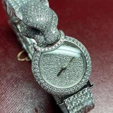 980卡地亚.猎豹系列珠宝腕表.18K真金真钻B34686000912512  钢带 石英女表