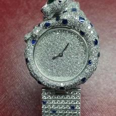980卡地亚.猎豹系列珠宝腕表.18K真金真金B346748000091912  钢带 石英女表